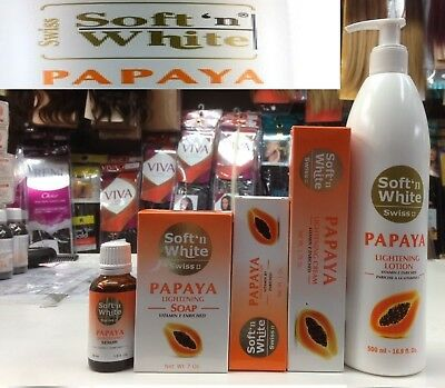 Swiss Soft n White Papaya Skin Lightening Body Lotion/Soap/Cream/Serum UK SELLER