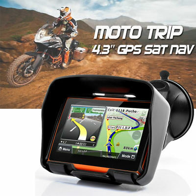 "Bluetooth Motorrad GPS Navigator 4.3"" Touch Screen Waterproof Auto NAV+ EU Maps"