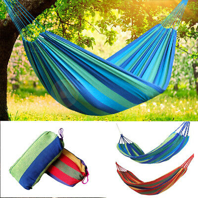 2 Person Cotton Rope Hanging Hammock Swing Fabric Camping Canvas Bed Outdoor