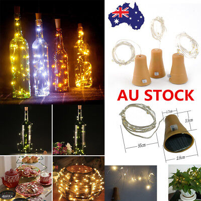 1/3/6X Solar Wine Bottle Stopper Cork Shaped LED String Lights Party Xmas Lamp