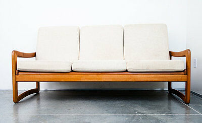 Mid Century Danish Modern Sofa Couch Solid Teak EMC Mobler Seating Slat Wood MCM