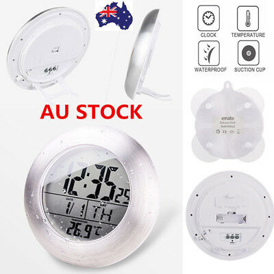 Waterproof Shower Digital Bathroom Suction Cup Wall Clock Thermometer Hygrometer