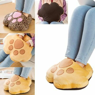USB Electric Winter Heating Foot Warmer Shoes Soft Slipper Animal Leopard Claw