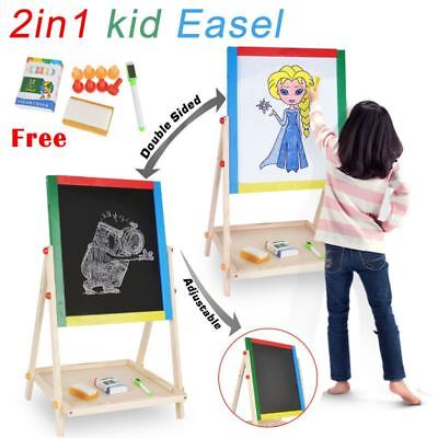 Kids Wooden Double Sided Art Easel Stand Chalk Chalkboard + Magnetic White Board