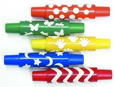 CI CS9085 Colourful Plastic Rolling Pin With Foam Pattern (Pack Of 5)