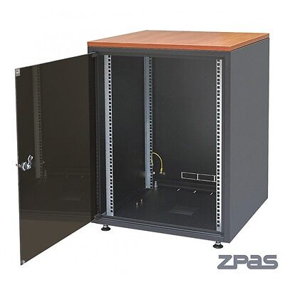 "SJB 19"" Data Comms 18U 600x800 SERVER RACK NETWORK CABINET for IT WOODEN TOP"