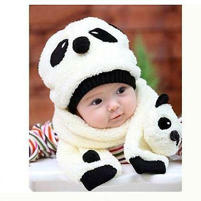 Winter Baby Toddler Girl Boy Warm Cute Panda Hat Cap Beanie Scarf Kids Beige CV