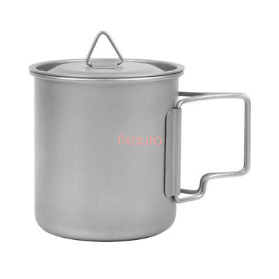 Titanium Portable Camping Water Cup Mug Folding Handle Mugs W/ Carry Bag fo12