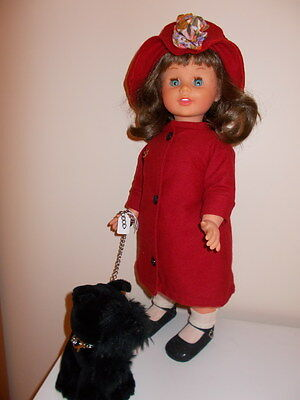 "Vintage 1950s PALITOY HARD PLASTIC WALKER DOLL - 21"" waist bends/English coat"