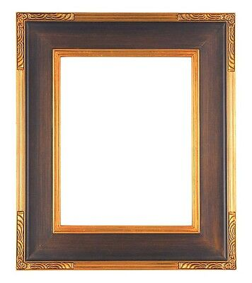 """14 X 18 Standard Picture Frame Carved Corners Bronze Gold Finish 3.5"""" Wide Nib"""