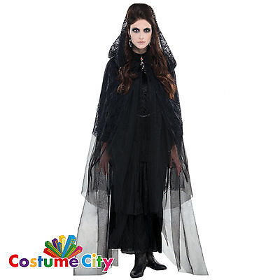 Womens Ladies Gothic Lace Hooded Cape Halloween Fancy Dress Costume Accessory