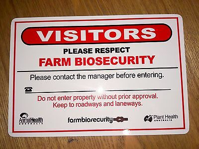 Farm Biosecurity Safety Sign 450x300mm METAL 3mm Thick Aluminium Composite ACP
