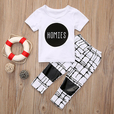 UK Stock Toddler Kids Baby Boy T-shirt Tops+Long Pants Outfits Tracksuit Clothes