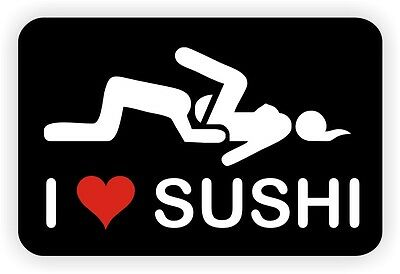 I Love Sushi Hard Hat Decal | Motorcycle Helmet Sticker Welding Dirt Bike Funny