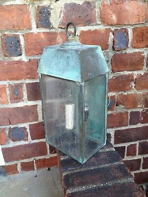 Antique Copper 3 Panel Crackle Glass Outdoor Sconce Light Fixture Arts & Crafts