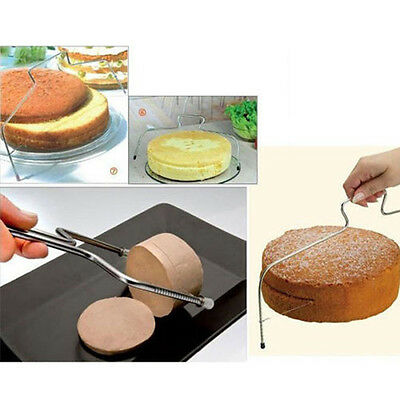 Stainless Wire Cake Slicer Leveler Pizza Dough Cutter Trimmer Tool Adjustable
