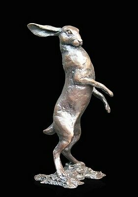 Small Hare Standing Solid Bronze Foundry Cast Sculpture by Michael Simpson [833]