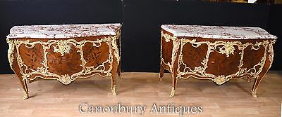 Pair Louis XVI Bombe Commodes Linke Marquetry Inlay Chest Drawers