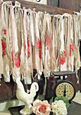 6 ft photo prop fabric garland Shabby Chic Wedding cottage pink red roses baby