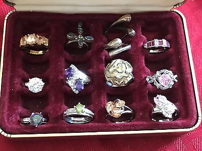 Tray Of (12) Some Are Sterling Silver Rings With Mixed Colors And Sizes