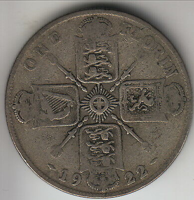 1922 Great Britain silver florin (2 shillings), earlier George V, KM-817a (GB7)