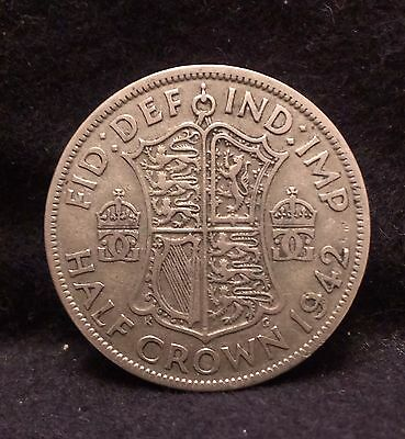 1942 Great Britain silver half crown, WWII minted, KM-856 (GB2)