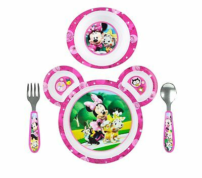 Minnie Mouse Toddler Dish Set Feeding Kid Baby Bowl Plate Fork Spoon 4 Pieces