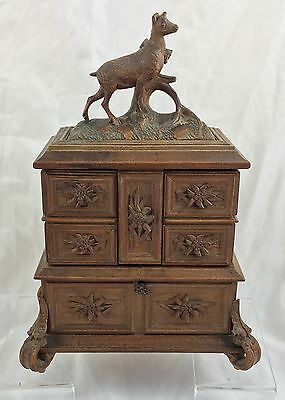 Stunning Antique Carved Black Forest Jewelry / Jewellery Box / Casket