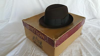 7730105cd80ae VINTAGE STETSON ROYAL De Luxe Stetson Fedora Hat (6 7 8) Brown ...