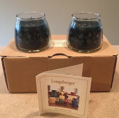 NIB Longaberger Mini Candle Jar 2-Pack Evergreen Orange,Glass Etched Snowflakes