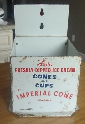 Rare Vintage Ice Cream Cup Cone Holder! Metal Advertising Imperial Cone Company