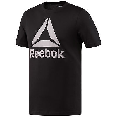 Reebok Stacked Logo Crew Neck Mens Fitness Training T-Shirt Tee