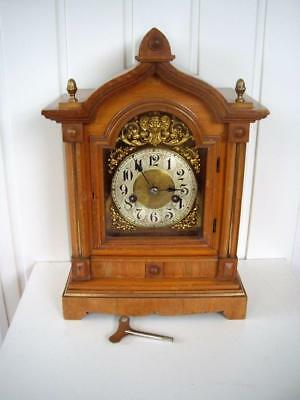 Antique Light Oak English Brass Faced Mantel Clock. Gwo.
