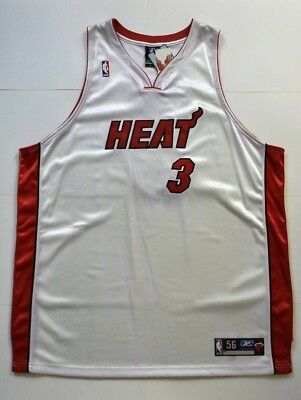 new product 5189f 4fee7 DWAYNE WADE #3 Miami Heat Authentic Jersey Reebok Size 56
