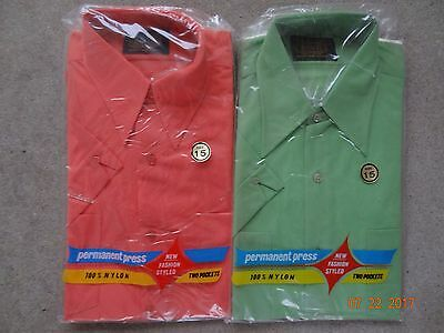 Lot of 2 Vintage 1960's Long Point Collar Shirts, Dual Pocket, Resco, Nylon, 15