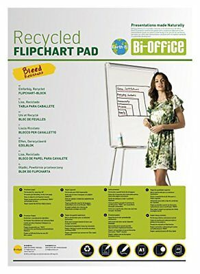 Bi-Office Earth-It Bloc de Papel Reciclado para Pizarra Rotafolios, Euro, 20 Ho