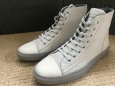 "All Saints Chalk White ""circuit Hi Top"" Trainers Shoes Uk 7 8 9 10 11 New Boxed"
