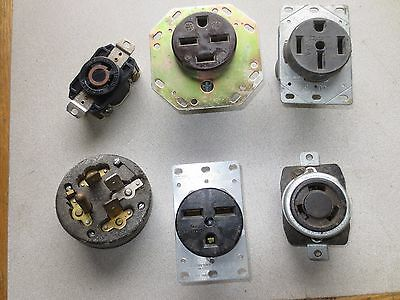 MIXED LOT - PLUG & RECEPTACLES - HUBBELL, LEVITON, PASS & SEYMOUR, GE - LOT of 6