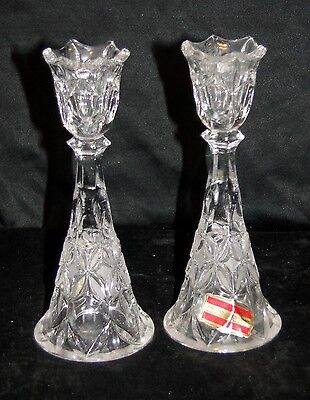 Handcut Echt Bleikristall West German Crystal Tapered Candle Holders