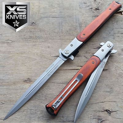 """13"""" TAC FORCE Open STILETTO WOOD Extra Large Spring Assisted Pocket Knife"""