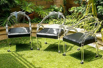 Mid Century Modern Lucite Chairs MCM Clear Lucite HOLLIS JONES STYLE Set Of 3
