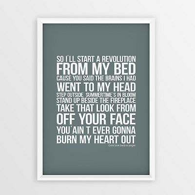 Don't Look Back in Anger Oasis Lyrics Wall Art Typology Print GIFT IDEA