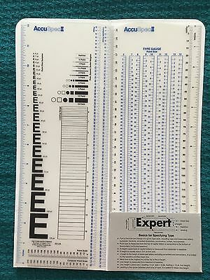 ACCUSPEC II rulers Type Gauge Measure For Graphic Design Use Mint Condition