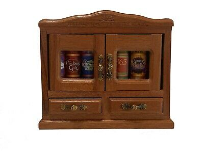 beautiful wooden n glass armoire for 7 of our miniature standard books 2 doors
