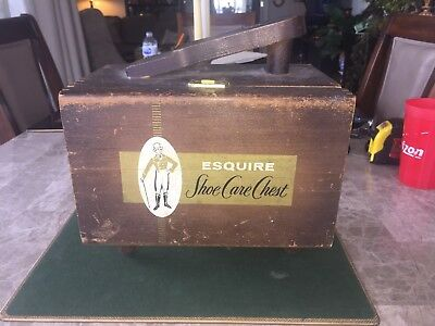 Vintage ESQUIRE Shoe Shine Box & Brushes