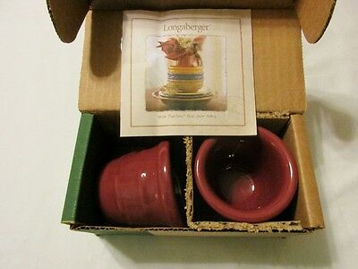 Set of 2 Longaberger Woven Traditions Paprika Votive Candle Holders in box