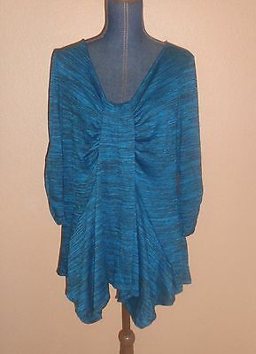 Avenue Black Green Teal Ruched Asymmetrical Knit Tunic Top Size 14/16 NWT