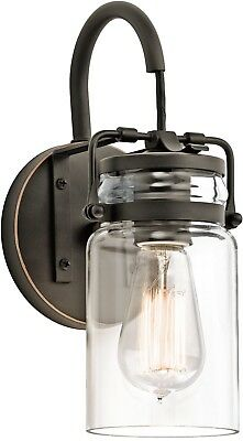 Brinley Olde Bronze Wall Sconce 45576OZ 1-light Light And Glass Clear Shade Lamp