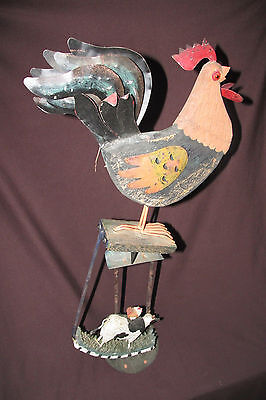 Rustic Chicken Rooster & COW Perpetual Rocking Motion Metal Wood Figurine 55CmT