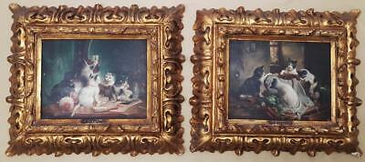 Originales Pair Old Oil Austrian Paintings Carl REICHERT J. Hartung H HEINZ Cats
